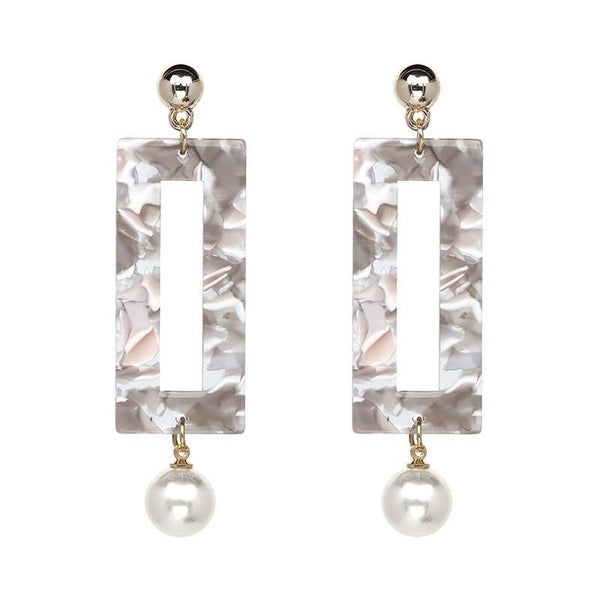Marbled Pearl Earrings: Gray/Ivory