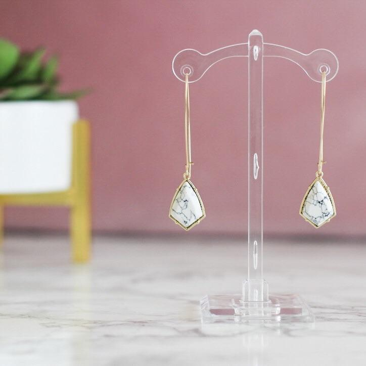 RESTOCK: Sweet and Simple Earrings: White Howlite/Gold - Bella and Bloom Boutique