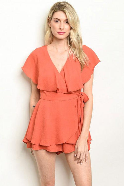 Wrap Me Up Romper: Rust
