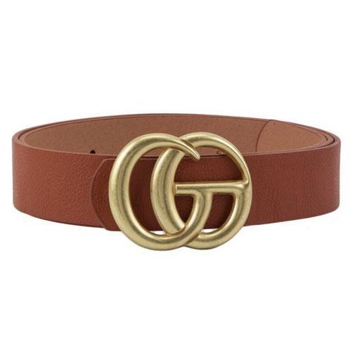 RESTOCK: Label Lover Belt: Cognac/Antique Gold - Bella and Bloom Boutique
