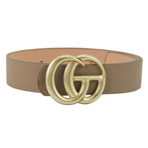 Label Lover Belt: Taupe/Antique Gold - Bella and Bloom Boutique