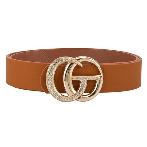 Label Lover Belt: Cognac Embellished - Bella and Bloom Boutique