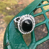 Black & Crystal Rhinestone Stretch Ring