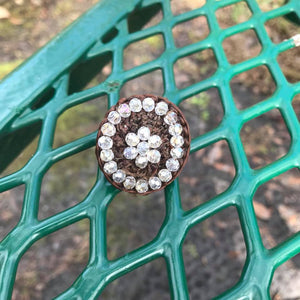 Artisan Handcrafted Brown Embroidered Beaded Adjustable Ring.