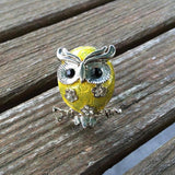 Yellow Enamel Owl Ring, Adjustable