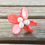 Pearl & Coral Ring, Adjustable
