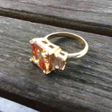Gorgeous Citrine-Tone on Gold Tone Inlay Ring, Size 8