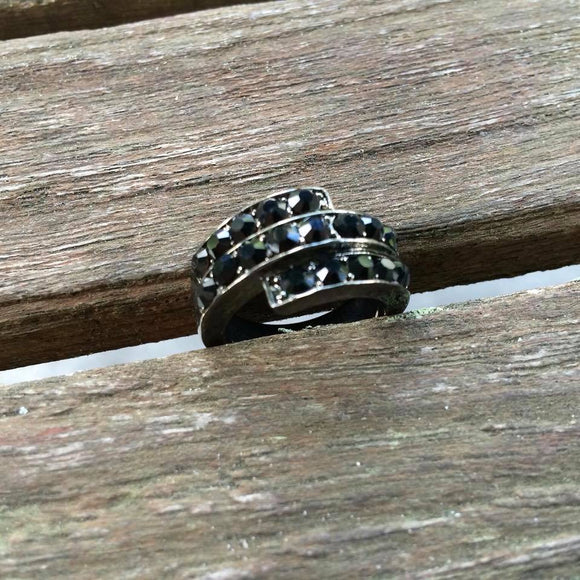 Black Rhinestone Charcoal Ring, Size 8