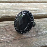 Oval Black Rhinestone Ring, Size 7