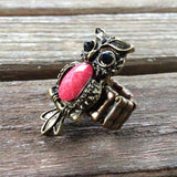 Bronze Owl & Red Lucite Stretch Ring