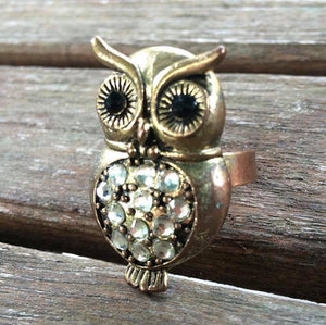 Bronze & Rhinestone Owl Ring, Adjustable