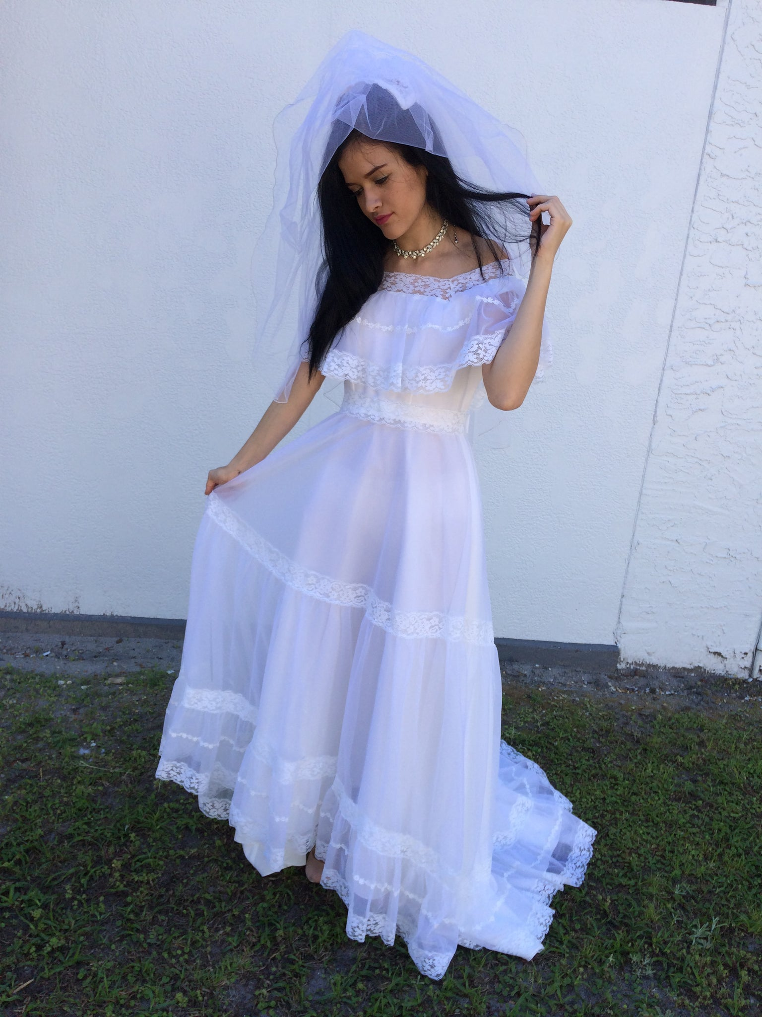 1950 S Vintage Wedding Dresses.1950 S Vintage Chiffon Lace Wedding Gown Dress Size Small