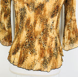 Bandolino Animal Print Pleated Blouse, Size PM