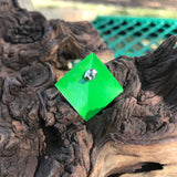 Vintage 1980 Metal Square Green Stud Earrings