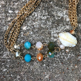 Aurora Borealis Glass Bead Tassel Shell Necklace