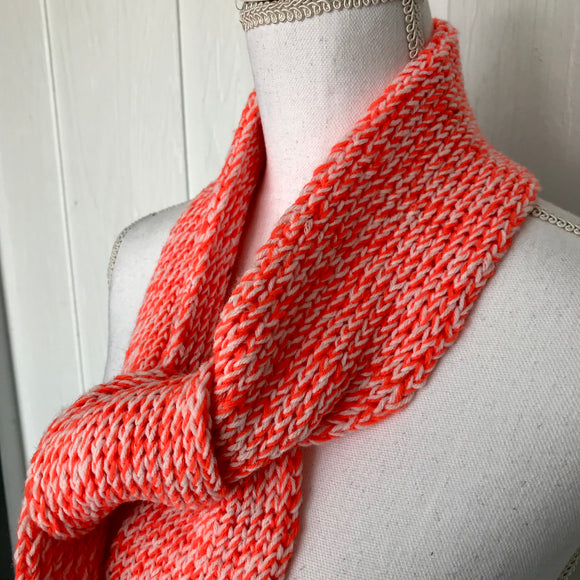 "Handmade Orange & White Knitted Winter Scarf,  4"" x 74"""