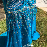 PARTY TIME Women's Hi-Lo Hand Beaded Aurora Borealis Sequined Formal Dress Pageant Gown, Size 14