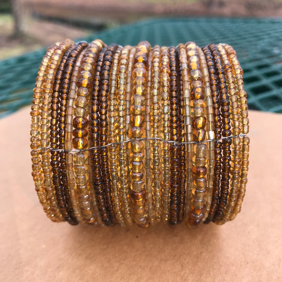 Artisan Crafted Handmade Brown Beaded Cuff Bracelet