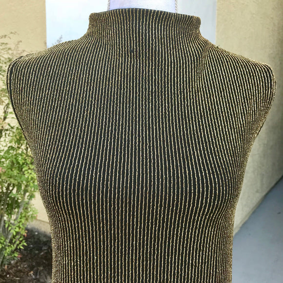 IMPRESSIONS Women's Evening Formal Black & Gold Metallic Sleeveless Shirt Top, Size XL