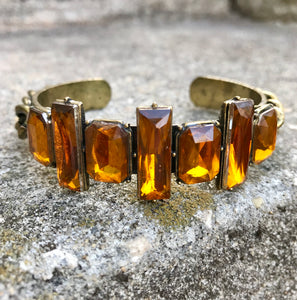 Vintage Bronze & Amber Color Rhinestone Bangle Bracelet