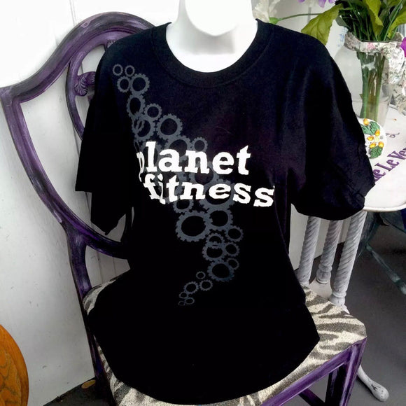 Planet Fitness 100% Cotton Black Unisex T-shirt, Size Large