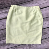 MAGGY LONDON PETITES Women's SIZE 14 Lime Green 100% Silk Lined Career Skirt