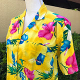 SANDRA INGRISH SPORT Neon Yellow Tropical Print Button Down Shirt Size Medium