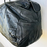 Soft Black Patch Made In Italy Leather Tote