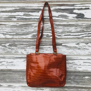 FRANCHI Women's Alligator Texture Burnt Orange Medium Shopping Hobo Purse