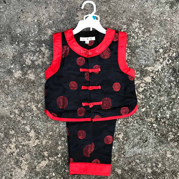 CHINA WEAR Baby Ethnic Wear Traditional Pant Satin Outfit, Size 8M OOAK