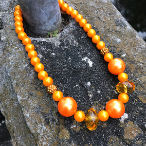 Beaded Gloss Bright Orange Princess Necklace