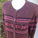 CHRISTOPHER & BANKS Hand Embroidered Wine Color Button Up Sweater, Size L