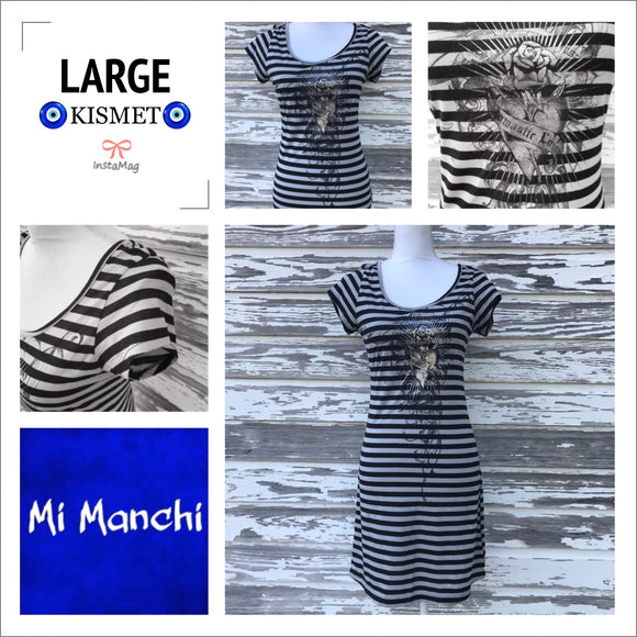 MI MANCHI Women's Size Medium Striped Dress
