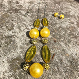 Chic Yellow Beaded Matinee Necklace & Earring Set