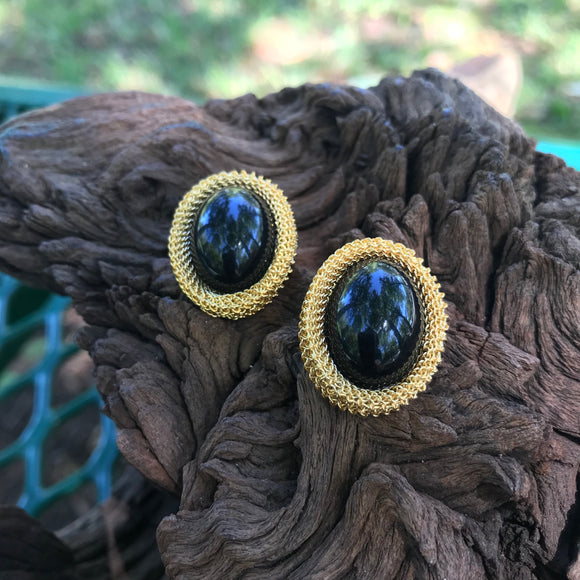 Vintage Gold-Tone & Onyx Color Stud Earrings
