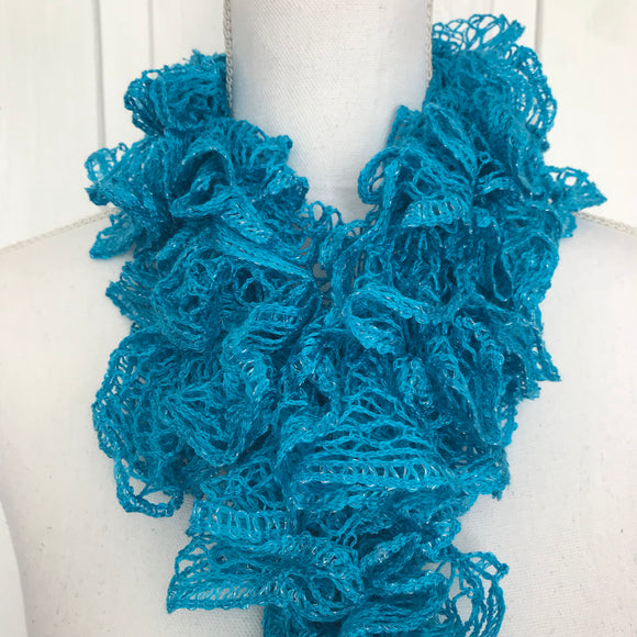Women's Long Aqua Blue Ruffled Knit Scarf, 93""