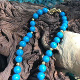 "Vintage Turquoise & Gold Energy Beaded 20""Choker Necklace"