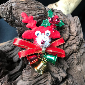 Christmas Holiday Artisan Crafted Reindeer & Bells Brooch Pin