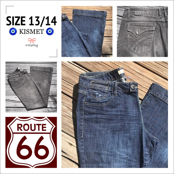 74cb24d0a5 ROUTE 66 Women's Size 13/14 Dark Wash Flare Jeans