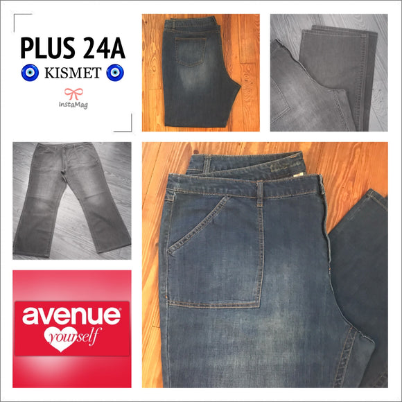 AVENUE Women's Plus Size 24A Straight Cut Jeans