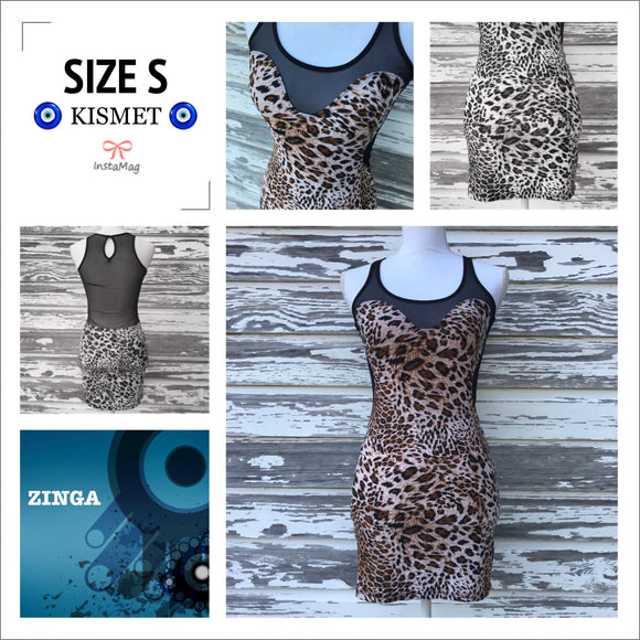 ZINGA Women's SIZE SMALL Leopard Party Cocktail Bodycon Mini Stretch Dress NEW