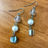 Artisan Crafted Drop Bead & Shell Earrings
