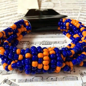 Artisan Crafted in Indonesia Beaded Florida Gator Colors Bracelet