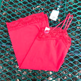 CHARLOTTE RUSSE Women's NEW Red Lace Trim Cami, Size Large