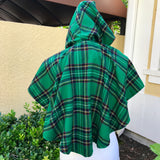 O'NEIL OF DUBLIN Wool Blend Green Plaid Cape Hooded Poncho SIZE XS