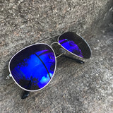 Polarized Mirror Navy Blue Lens  Aviator Sunglasses