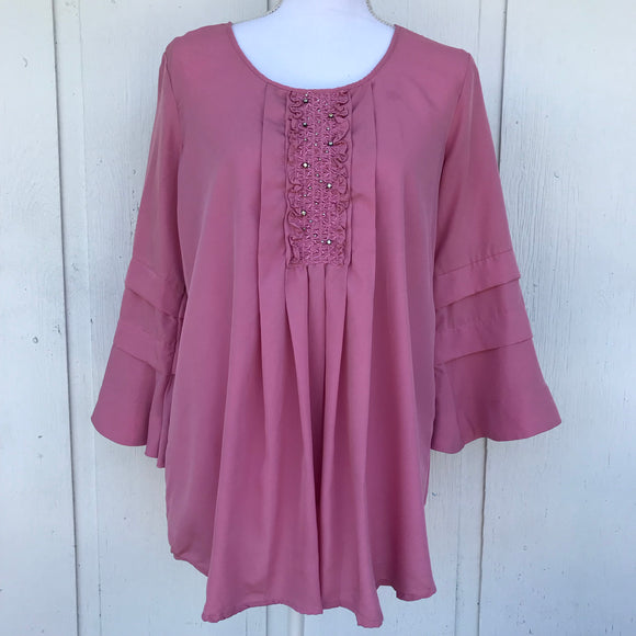 Salon Studio Pink Smock Ruffled Tunic, Size Medium