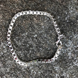 "Sterling Silver 7"" Italian Box Chain Bracelet With Lobster Clasp"