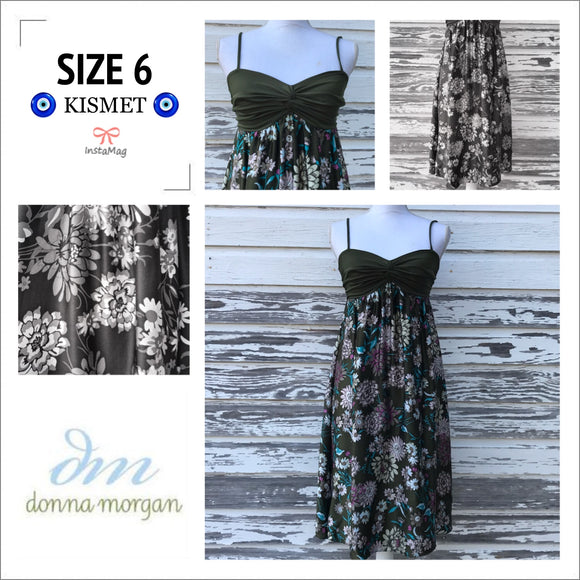 DONNA MORGAN Women's SIZE 6 Floral Silk Spaghetti Strap Midi Dress