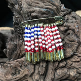 Vintage Handcrafted American Flag Red White & Blue Safety Pin Brooch